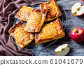 Caramel Apple  puff pastry tarts, top view 61041679