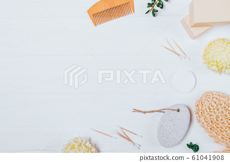 Flat lay hygiene products and body care 61041908