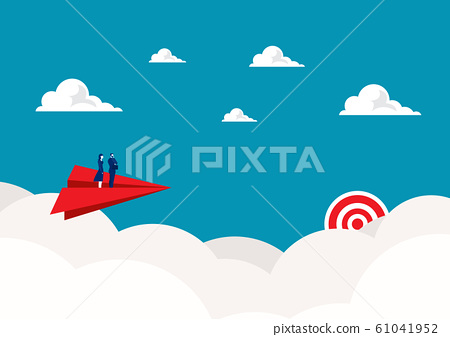 Two business standing on red paper plane flying on sky go to success goal. concept. creative idea. startup. 61041952