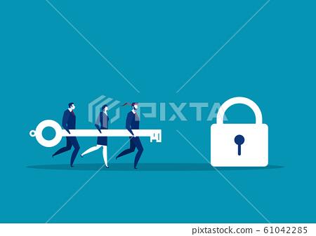 Business team holding big key to unlock lock. Success concept vector illustration 61042285