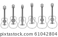Set of vector stringed musical instruments drawn by lines. 61042804