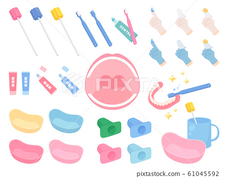Illustration set of oral care 61045592