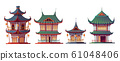 Traditional chinese house building cartoon 61048406