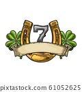 Four leaf clover, horseshoe, number seven, ribbon. 61052625