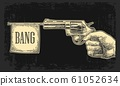 Male hand holding revolver with bang flag . Vector 61052634