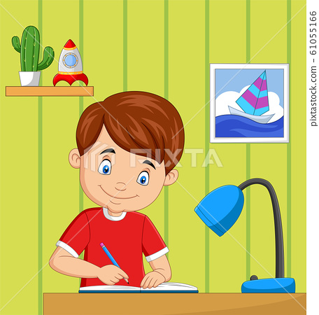 Cartoon little boy studying in the room 61055166