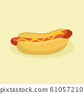 Fast Food Hotdog with sausage and mustard vector 61057210