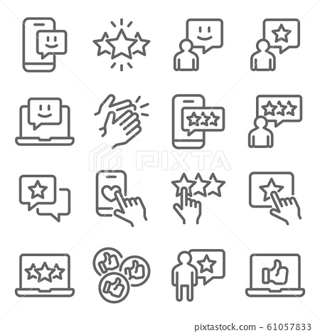 Feedback Rating icons set vector illustration. Contains such icon as Review, Favorite, Like, Survey and more. Expanded Stroke 61057833