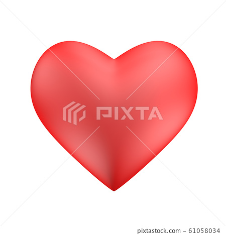 Happy Valentine's day, flat lay top view, 3D Red 61058034