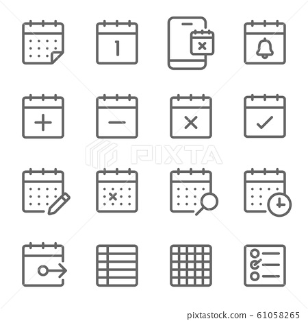 Schedule icons set vector illustration. Contains such icon as the event, checklist, appointment, calendar, meeting and more. Expanded Stroke 61058265