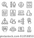 Headhunting icons set vector illustration. Contains such icon as Resume, Candidate, Career path and more. Expanded Stroke 61058850