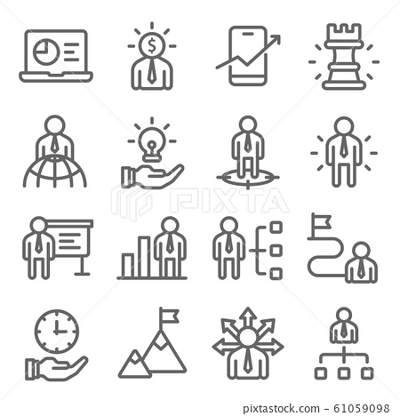 Business strategy icons set vector illustration. Contains such icon as head hunting, employee management and more. Expanded stroke 61059098
