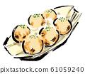 Illustration material, salt, octopus grilled, takoyaki, octopus, salty, takoyaki, toothpick, hand drawn, brush writing, handwritten, 61059240