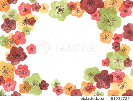 Chinese new year greeting card. Frame from sakura flowers. Watercolor illustration. 61059727