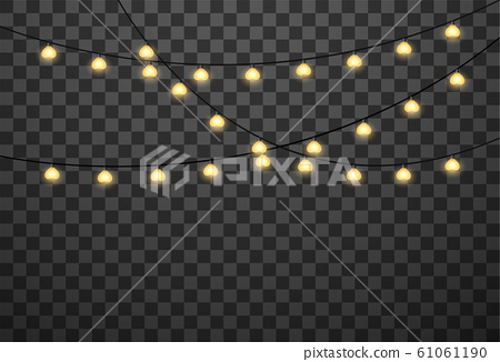 Hearts light bulbs isolated on transparent background, vector illustration 61061190