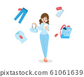 Flat Woman are holding Hand Bag and Shopping online by Smart Phone.Sale Item Bag Shirt Pant And Smartphone. 61061639