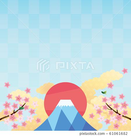 배경 소재 - 벚꽃, 수화 무늬 구름, 후지, 휘파람새 2 61061682