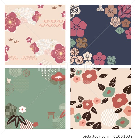 Flower template with Japanese icon vector. Cherry blossom background. Wedding, invitation card. Layout design. 61061938