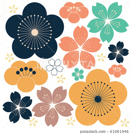 Cherry blossom icons vector. Flower background. 61061946