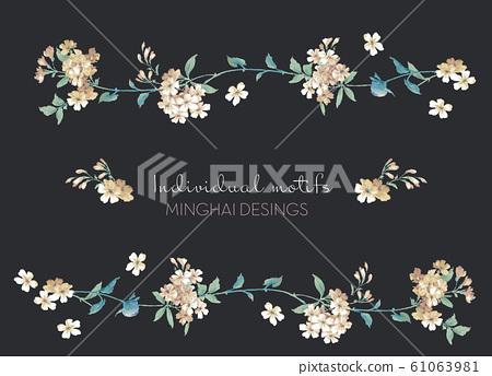 美麗的水彩玫瑰花和牡丹花 61063981