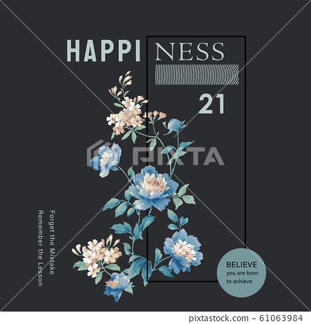 美麗的水彩玫瑰花和牡丹花 61063984