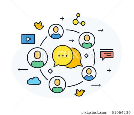 Social media blog . Virtual communication 61064230
