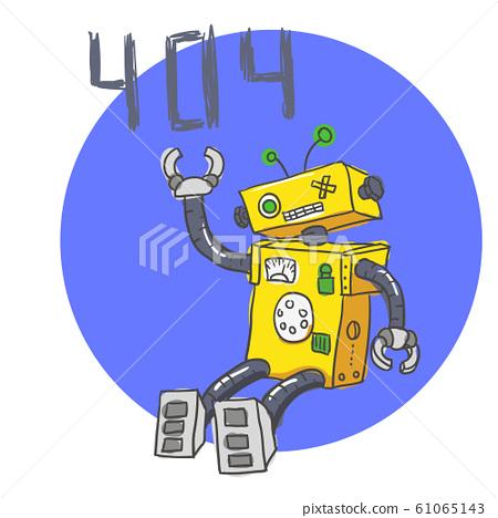 Hand drawn Brocken Robot. 404 Error page. Vector 61065143