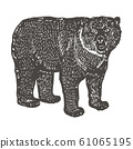 Spectacled Bear hand drawing. Vintage engraving style. Vector illustration art. Black and white. Object of nature naturalistic sketch. Vector 61065195