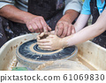 The potter makes pottery dishes on potter's wheel. 61069830