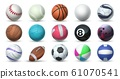 Realistic sport balls. 3D equipment for football, soccer and tennis. Vector set of balls for sport activities and games isolated on white 61070541