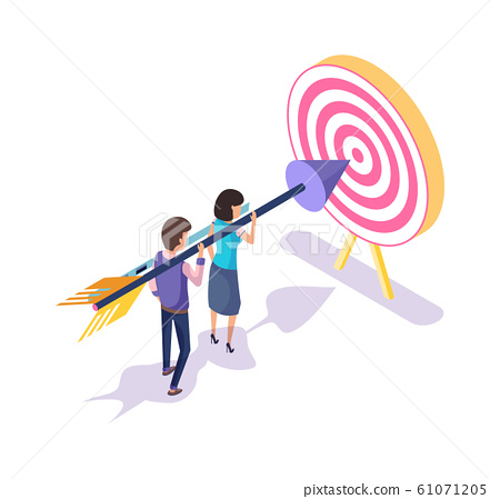 Target and Workers Aiming in Bullseye 3D Isometric 61071205