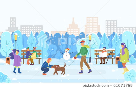 Winter Scenery, City and Citizens Playing Outdoors 61071769
