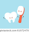 Cute happy human tooth and toothbrush character 61072470