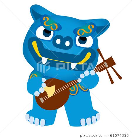 插圖的藍男Shisa扮演Sanshin |沖繩縣旅行的插圖 61074356