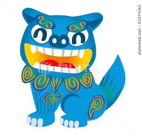 男性Shisa側身微笑的插圖 在沖繩縣旅行的插圖 61074362