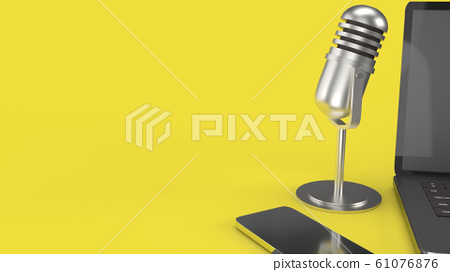 The vintage mic  notebook and smartphone on yellow background 3d rendering for podcast  content. 61076876