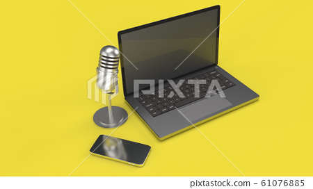 The vintage mic  notebook and smartphone on yellow background 3d rendering for podcast  content. 61076885