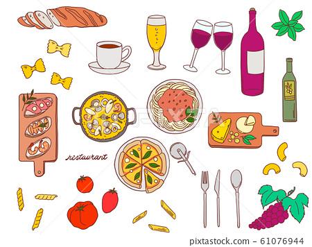 餐廳時尚手繪材料插圖集 61076944