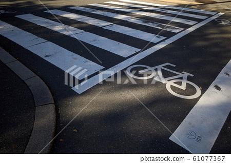 횡단 보도와 자전거 통행 대보기 61077367