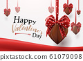 Valentines Day background. Chocolate hearts shape with cute ribbons hanging 61079098