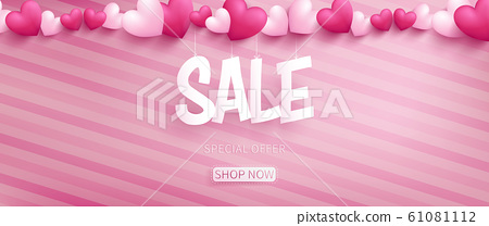 Valentine banner with SALE typography in paper craft style hanging by realistic hearts on top over pink pattern oblique line background 61081112