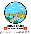 Circle icon Golden Bridge in Da Nang Vietnam. icon vector illustration 61083591