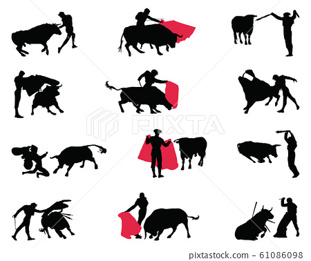 Black silhouettes of matadors and bulls on a white background, vector 61086098