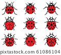 Set of different cheerful ladybugs, vector illustration 61086104