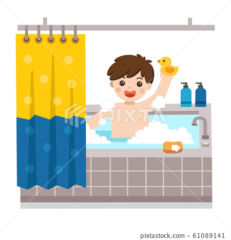 Adorable little boy taking a bath in bathtub. 61089141