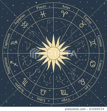 Vector zodiac wheel symbols and constellation on 61089554