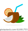 Cocktail of coconut vector flat material design isolated object on white background. 61091755