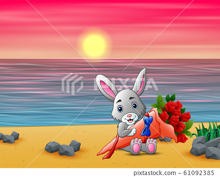 Cute little bunny holding a bouquet on valentine day 61092385