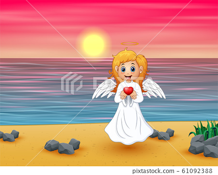 Angel girl present a red heart on the beach 61092388