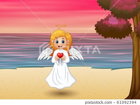Angel girl present a red heart on the beach 61092394
